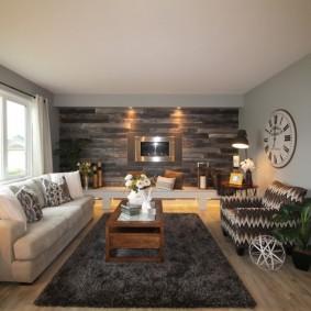 Темно-серый ламинат в интерьере гостиной