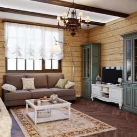 Отделка гостиной комнаты в деревянном доме