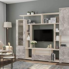 Мебель в гостиной с дымчатыми фасадами