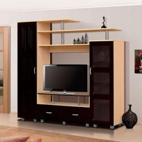 Контрастная мебель в гостиной с хорошим освещением