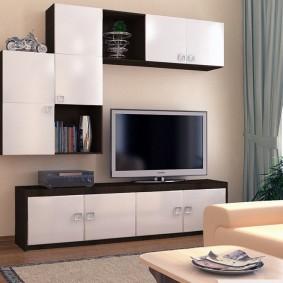 Модульная мебель в гостиной небольшого размера