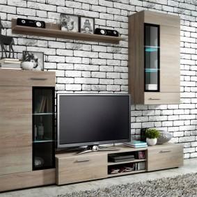 Компактный комплект мебели для гостиной в стиле лофт