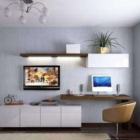 Компьютерный стол в комплекте мини-стенки