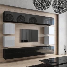 Глянцевая мебель в гостиной комнате стиля хай тек