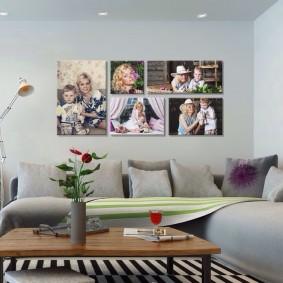Любимые фотографии на диваном в гостиной