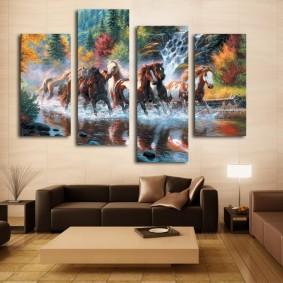 Модульная картина с изображением лошадей