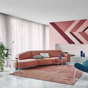 Зонирование большой гостиной ковром