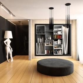 Декор гостиной комнаты геометрическими полками