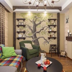 Нарисованное дерево с полочками на ветках