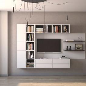 Шкафы для книг вокруг телевизора в гостиной
