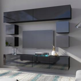 Модульные навесные шкафы с серыми фасадами
