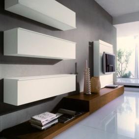 Горизонтальные шкафы с белыми фасадами