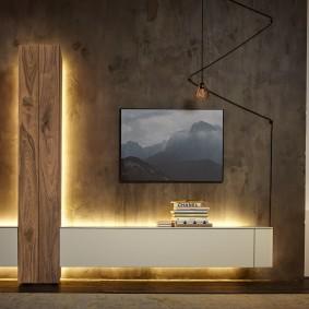Лаконичная стенка с декоративной подсветкой