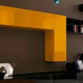 Яркие шкафы на коричневой стене в зале