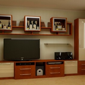 Мебельная стенка с квадратными шкафами для посуды