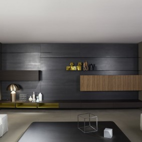 Декор темными панелями акцентной стены в гостиной