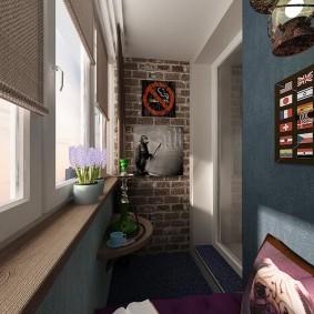Отделка стен балкона в темных тонах