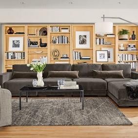 Серая мебель в гостиную комнату