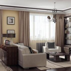 Мягкая зона в гостиной-столовой