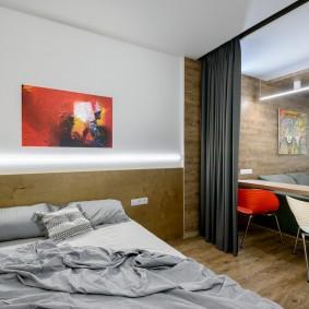 Зонирование шторой спальни-гостиной