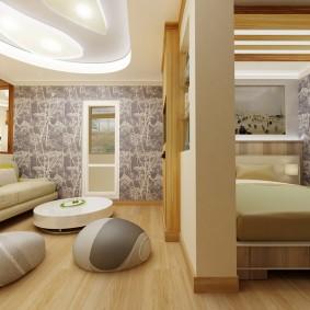 Спальное место за перегородкой в гостиной