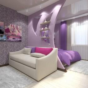 Фиолетовые шторы в однокомнатной квартире