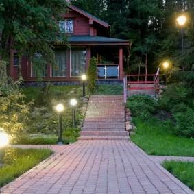 Садовые фонарики с шаровидными плафонами