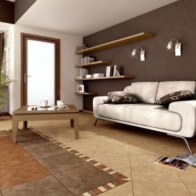 Коричневый цвет в роли акцентов в гостиной комнате