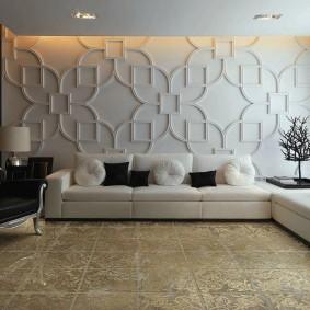 Отделка стены гостиной объемными панелями