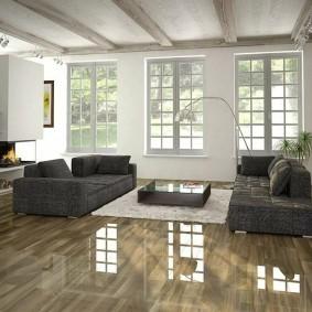 Серая мебель на полу с глянцевым покрытием