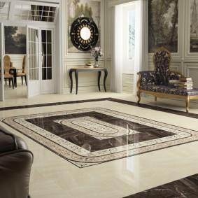 Керамический пол в гостиной классического стиля