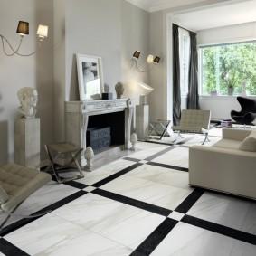 Черно-белая плитка в гостиной небольшого размера