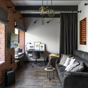 Гостиная комната в стиле лофта