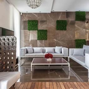 Декор гостиной комнаты в стиле эко