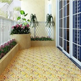 Живые цветы в контейнерах на балконе
