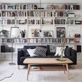 Книжные полки в интерьере гостиной комнаты
