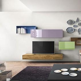 Модульная стенка с полочками для современной гостиной