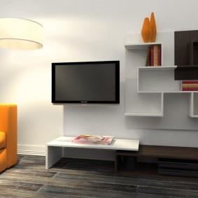 Навесные полки в гостиную современного стиля