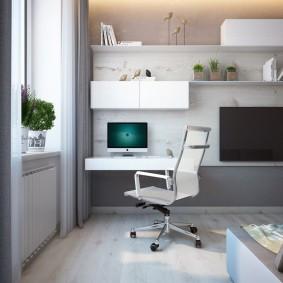Подвесной столик для компьютера в гостиной