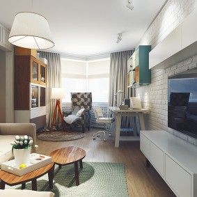 Дизайн гостиной комнаты с кирпичной стеной