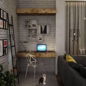 Мини-офис в гостиной лофтного стиля