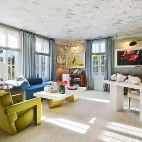 Расстановка мебели в угловой гостиной