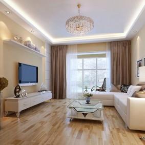 Коричневые занавески в гостиной современного стиля