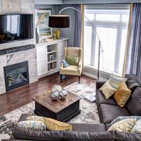 Правильная расстановка мебели в гостиной перед камином
