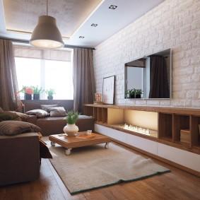 Подвесная мебель на кирпичной стене