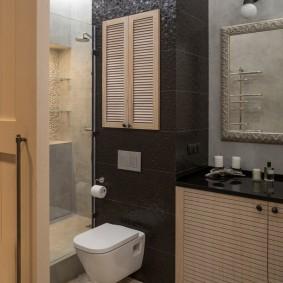 Контрастный интерьер санузла в квартире