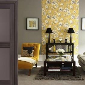 Зонирование гостиной комнаты виниловыми обоями