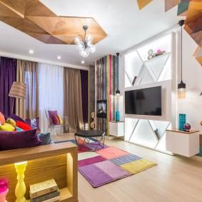 Неординарный интерьер гостиной в стиле авангарда
