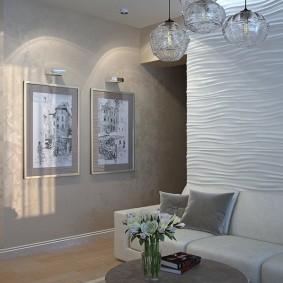 3D-обои с выраженным рисунком за диваном в зале