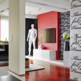Контрастный интерьер гостиной в частном доме